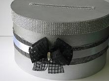 Pudełko na koperty ślubne - srebrno-czarne
