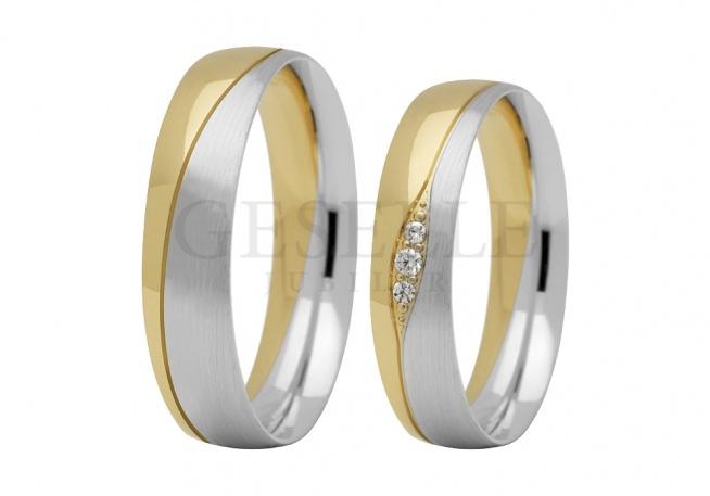 Ładne obrączki ślubne z białego i żółtego złota próba 585, delikatna fala obsypana cyrkoniamii i brylantami GRAWER W PREZENCIE
