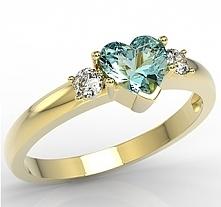 pierścionek z 14k złotem i cykoriami