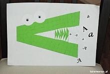 """Ciekawy sposób na wprowadzenie nowej literki - praca plastyczna """"A"""" jak aligator :)"""
