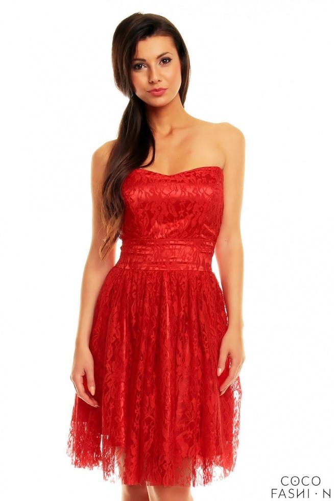 Czerwona Imprezowa Gorsetowa Sukienka z Koronki