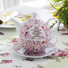 Dzbanek ceramiczny z filiżanką i spodkiem DZISIAJ MOŻESZ WSZYSTKO