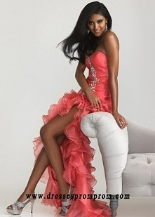 Flowy Coral Short Front Back Ruched Long Prom Dresses