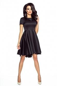 Czarna asymetryczna sukienka krótki rękaw