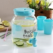 Słój na napoje z kranikiem i 4 kubeczkami plastikowy BOISSON FRAICHE NIEBIESKI 2,5 l