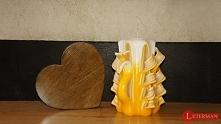 serce lite drewno plus świeca rzeźbiona - rękodzieło