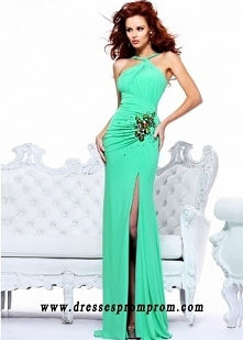 SH-21065 Green Rhinestones Embellishment Ruched Unique Evening Dress