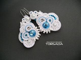 Duże długie kolczyki ślubne sutasz LUNA błękitne ślub handmade zamów na torsada.blogspot.com