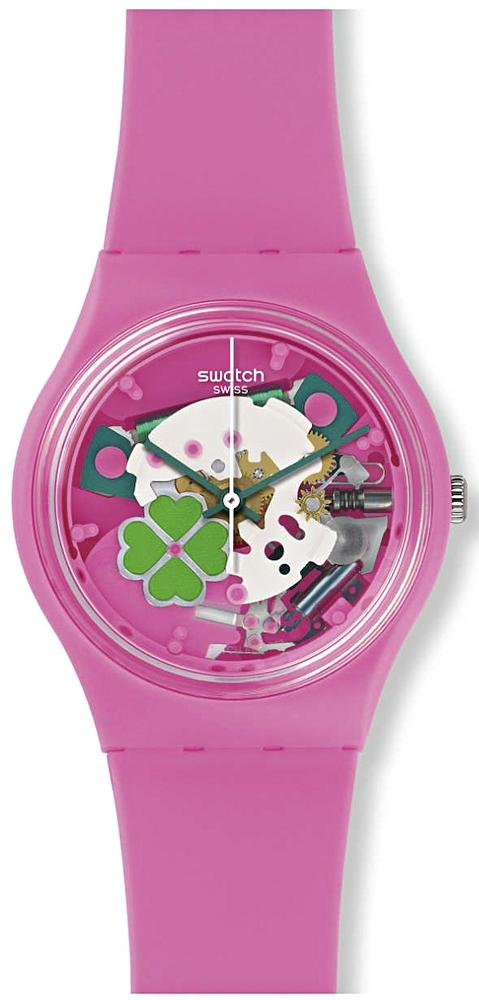 różowy zegarek z koniczynką, otwarty mechanizm open-heart, świetny na prezent!