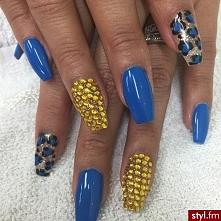 Manicure niebiesko - złoty....