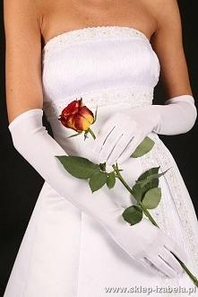 Długie ślubne rękawiczki z palcami, dla Panny Młodej