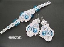 Komplet ślubny LUNA biżuteria ślubna błękit biel ślub bransoletka kolczyki sutasz zamów na torsada.blogspot.com