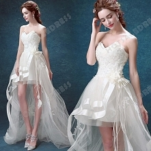 2016 New Sexy Strapless Sweetheart High Low Lace trailing Bride Wedding Dress