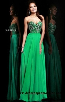 Sherri Hill 8545 Emerald Sweetheart Long Prom Dresses 2016 Strapless With Beads