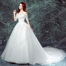 2016 New Strapless Long-sleeved Lace Large Train Bride Wedding Dress
