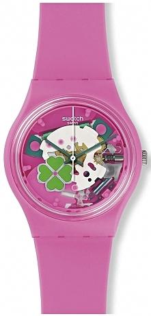różowy zegarek z koniczynką...