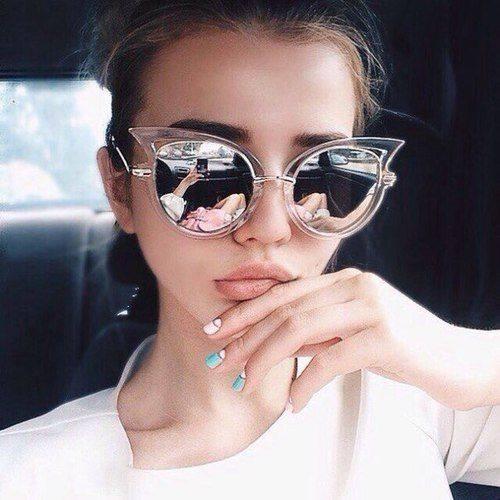 Okulary przeciwsłoneczne kocie uczy, lustrzanki. Piękne :)