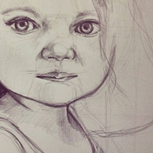 Portret małej dziewczynki-w trakcie,ołówek zapraszam do siebie na stronę na fb i instagramie