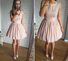 Rozkloszowana tiulowa sukienka  z wyjątkową górą w kolorze nude, cudo <3 <3 <3 sukienka Illuminate