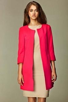 Różowy żakiet damski z krytymi kieszonkami