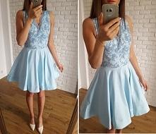 błękitna sukienka z koła z gipiurową górą, na tiulu, Illuminate <3 <3 <3