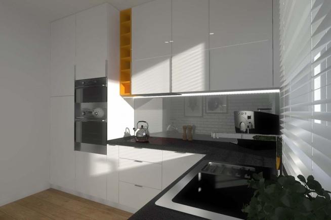 Inny widok na projekt wnętrza kuchni w bloku na osiedlu Budlex w Bydgoszczy projektu architekta wnętrz Mobiliani Design. Jasna kuchnia, z mocnymi, charakterystycznymi elementami, w postaci ciemnych blatów i żółtych półek tworzy ciekawie zaaranżowaną przestrzeń, z jednoczesną dbałością o wygody.  Dla kuchni przeznaczono wykonanie nowoczesnych i funkcjonalnych mebli produkowanych na zamówienie.