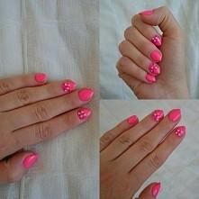 hybryda :) neonowy róż na krótkich paznokciach :) nie każdy może sobie pozwolić na długie ;)