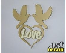 Gołębie Z Sercem + Napis Love - Dekoracje Ślubne, Weselne, więcej naszych produktów na arqdecor.pl