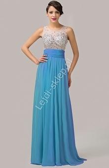 Suknia z kryształkami, błękitna   niebieskie sukienki