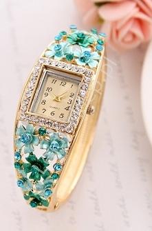 Zegarek z turkusowo szmaragdowymi kwiatami i cyrkoniami | zegarek damski