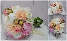 bukiet ślubny z piwonii gożdzika, róży,eustomy