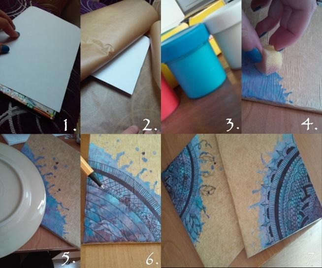"""efektowny wygląd tanim kosztem! wystarczy tylko stary zeszyt, farby,gąbka do mycia naczyń, cienkopis, talerz, biała kartka, klej (ja korzystałam z kleju """"vikol"""") i brązowy papier (w moim wypadku jest to papier do pieczenia xD) 1. Najpierw obklejamy dokładnie zeszyt białą kartką.  2. Następnie obklejamy go brązowym papierem.  3.czekamy aż klej trochę podeschnie i wybieramy kolory. Ja je mieszałam ze sobą żeby wyszedł lepszy efekt.  4. gotowe kolory mieszamy z wodą, aby były wodniste, następnie bierzemy gąbkę i robimy plamy według uznania, następnie mocno dmuchamy aby farba fajnie się rozmyła. 6. Gdy farba już wyschnie bierzemy talerz i zaczynamy rysować półkola.  7. Następnie cienkopisem rysujemy wzorki według uznania. wykańczamy iii... GOTOWE! ;) miłej zabawy! :D"""
