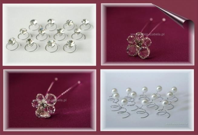 Ślubne ozdoby do włosów, wkrętki, kokówki, szpilki, kryształki i perełki