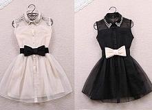Sukienki z cienkiego materiału ... Czarna z blado różową kokardą i kołnierzykiem ... Blado różowa z czarną kokardą i kołnierzykiem .. Sukienki w sam raz na lato .. Na jakąś okaz...