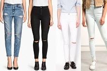 Jeansy z wycięciami ... Białe czarne miętowe ... Baleriny czarne ... Białe i czarne trampki ...