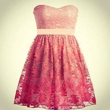 Koronkowa sukienka bez ramiączek ... W odcieniach różu ...