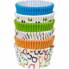 """Papilotki do muffinów """"pomarańczowe, niebieskie, zielone wzory"""""""
