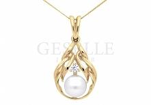 Elegancka zawieszka w stylu retro - żółte złoto próby 585, perła hodowlana, cyrkonia - kolekcja pereł GESELLE Jubiler