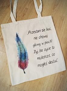 Torba bawełniana ręcznie malowana z napisem plus piórko :) Zrobiona na zamówienie :) + mam nową nazwę sklepu! EveryWear, zapraszam :)