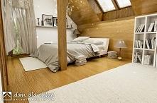 Szczęśliwa II to nowy projekt gotowy. Wizualizacja sypialni na poddaszu.