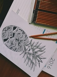 rysunek ananas, rozgrzewka