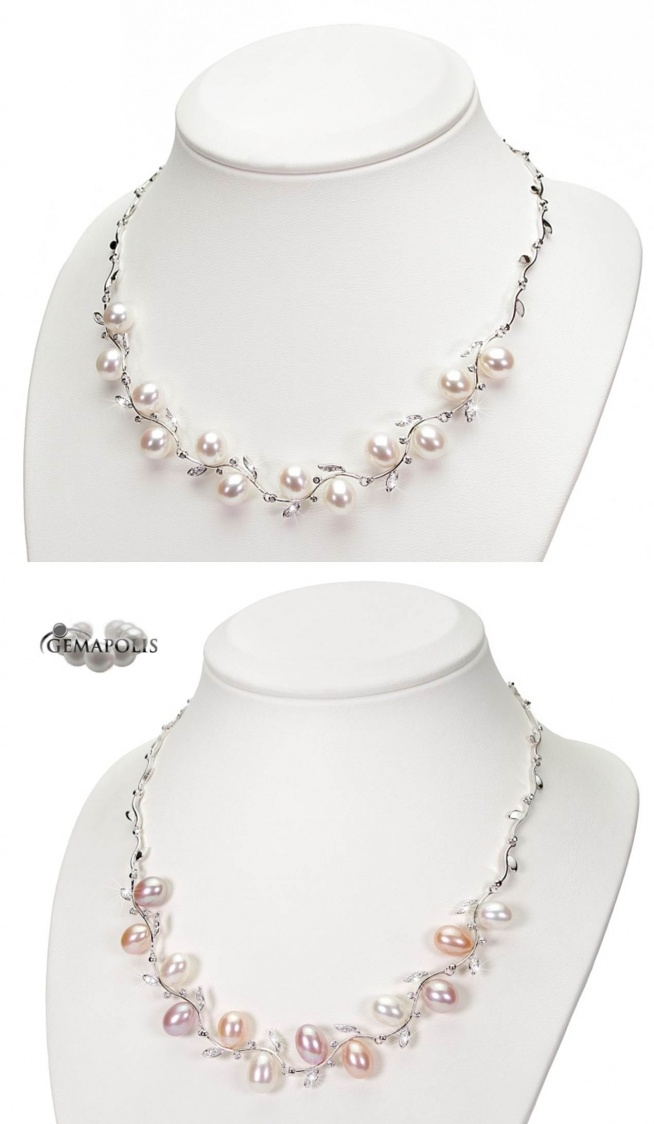 Piękny srebrny naszyjnik z perłami i cyrkoniami. Dowód na to, że perłowy naszyjnik nie musi być klasycznym sznurem. Ten będzie jednak pasował bardziej do stroju wieczorowego.
