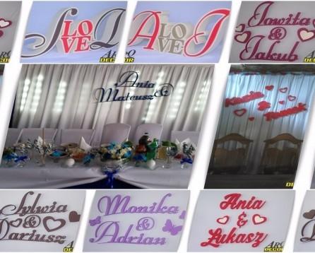 Imiona ślubne Inicjały Dekoracje Pracowania Dekoracji Arq D Na