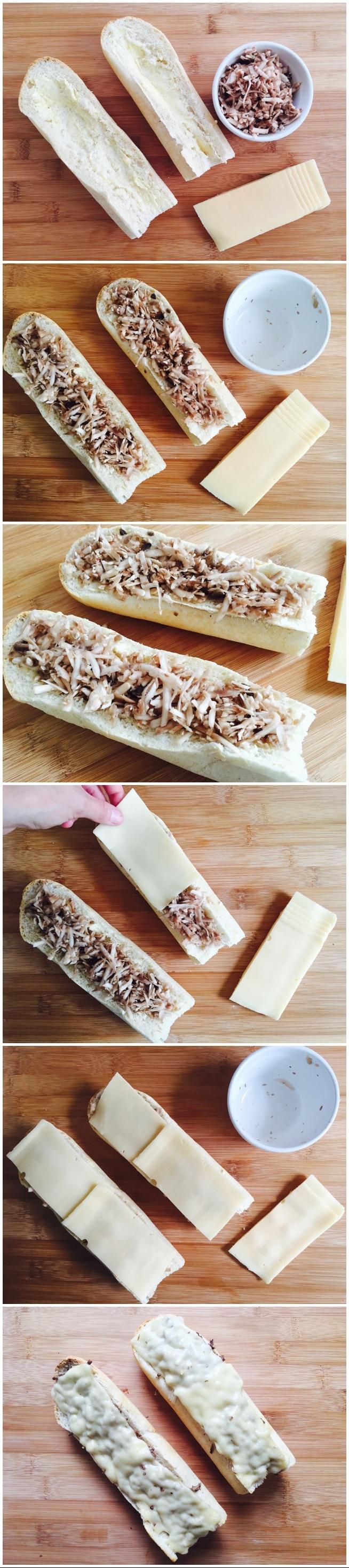 NAJSZYBSZE , NAJPROSTRZE , NAJSMACZNIEJSZE ZAPIEKANKI! Sposób przygotowania: Bagietke przekrajamy wzdłuż na dwie równe części, pieczarki myjemy,obieramy i ścieramy na tartce. Przekrojone bagietki smarujemy cienką warstwą masła,  ukladamy pieczarki, a następnie kladziemy żółty ser. Tak przygotowane zapiekanki wkładamy do piekarnika nagrzanego do 200C na 5 minut i gotowe!:) ilość składników zależne jest od własnych potrzeb i upodobań. Zapraszam na pozostałe przepisy na smaczne przekąski.