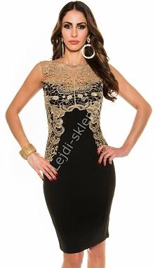 Czarna żorżetowa sukienka ze złotą gipiurą | Janina Youssefian
