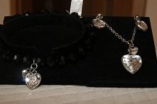 biżuteria czarna z kolorem srebrnym monogram Fiorelli piękna nowa biżuteria czarne kamyki piękne cyrkonie serca bransoletka kolczyki łańcuszek z zawieszką firmowe opakowanie