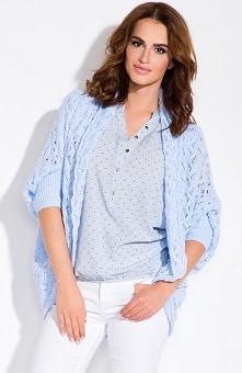 Fobya L100 sweter błękitny Przepiękny sweter, luźny fason, niezapinany, rękawy zakończone ściągaczem