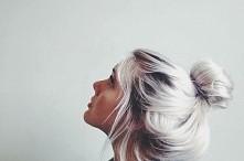 Platinum blonde hair.