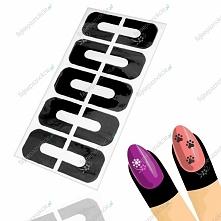 Środek w postaci wygodnych w użytkowaniu naklejek  do fizycznej i chemicznej ochrony skórek podczas stylizacji paznokci.     Na jednym arkuszu znajduje się 10 naklejek,  które p...