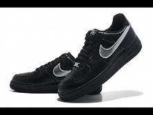 Damskie Nike Air Force 1 czarne ze srebrnym znaczkiem zapraszamy na sklep-air-max.pl
